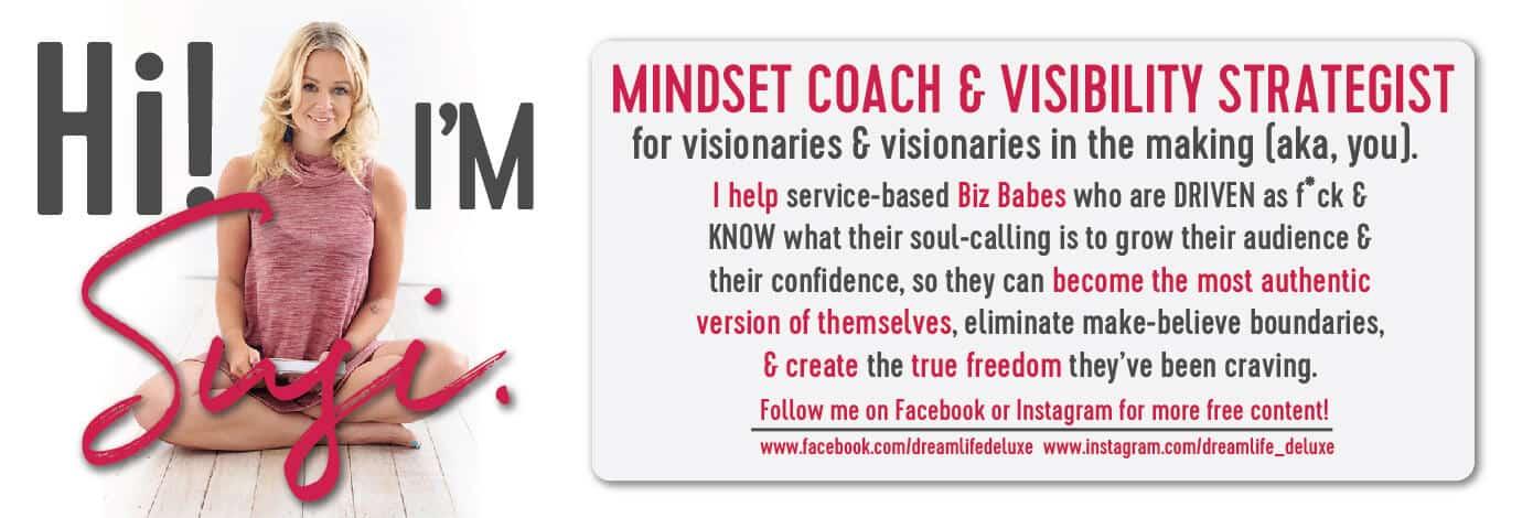 Author bio for Susi Kaeufer, Mindset Coach and Visibility Strategist for women entrepreneurs
