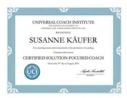 Susi Kaeufer Certificate for Certified Solution Focused Coach